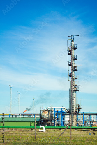 Oil refinery with clear sky