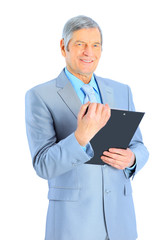 Nice businessman at the age, studying the work plan