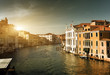 Grand Canal in Venice, Italy in sunset time