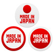 Stickers with Made in Japan. Vector illustration.