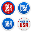Stickers with Made in USA. Vector illustration.