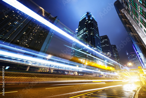 Spoed canvasdoek 2cm dik Hong-Kong traffic in Hong Kong at night