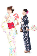 Beautiful kimono women. Portrait of asian women.