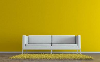Wohndesign - Sofa vor gelber  Wand