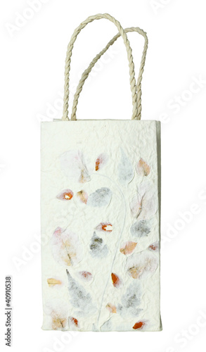 recycled paper craft  paper bag on white background