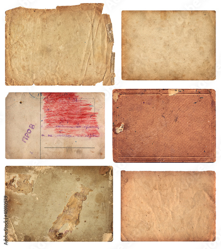 Grunge Paper Pieces isolated with clipping path