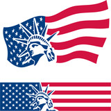 Statue of Liberty. American symbol. American flag. USA