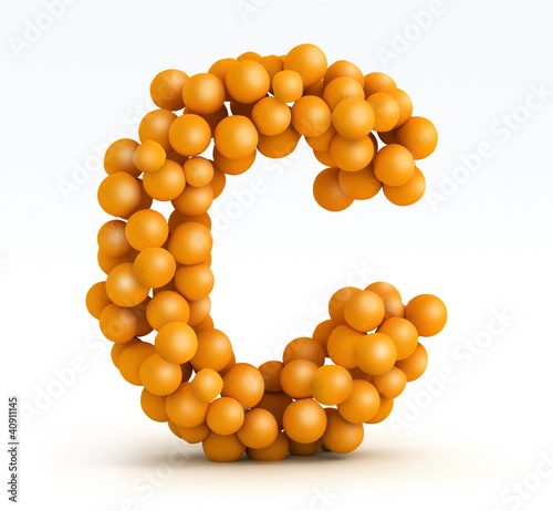 Letter C, font of orange citrus, white background