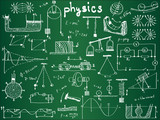 Physical formulas and phenomenons on school board poster