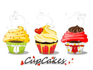 Cupcakes, Muffin Illustration mit Ornament