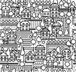 Seamless pattern of town