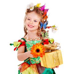 Child with butterfly holding gift box.