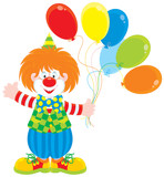 Circus clown with balloons poster