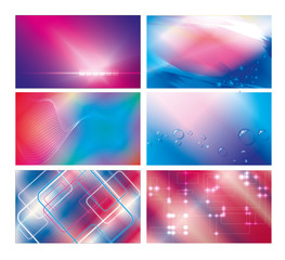 Abstract blue & red backgrounds set