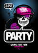 Party design template with DJ scull and place for text