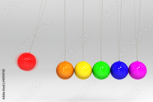 red ball collid with other colorful ball