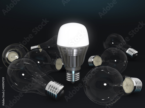 lighting LED lamp with several electric light bulbs