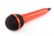 Red microphone over white