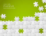 Vector green background made from white puzzle pieces