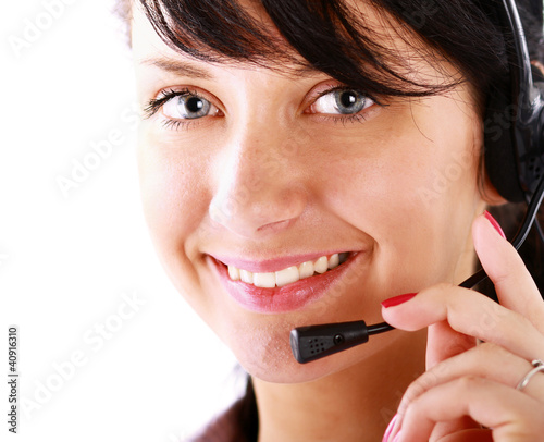 A female customer service consultant, closeup