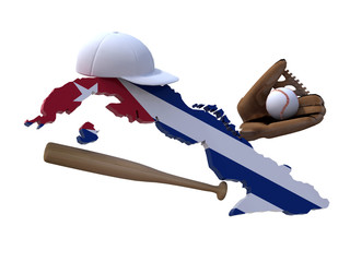 cuban map with flag, baseball hat, glove, ball and bat