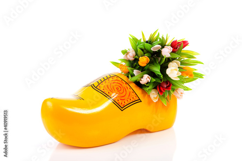 Typical Dutch clog and plastic tulips