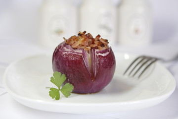 baked onion with baсon