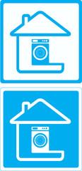 blue symbol with washing mashine and house silhouette