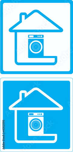 blue symbol with washing mashine and house silhouette
