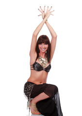 Belly dancer smiling to you.