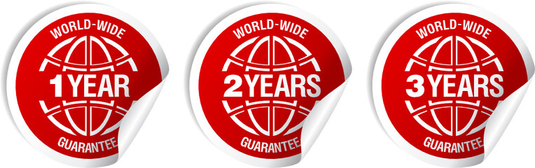World-wide guarantee stickers set