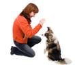 woman is dog training