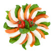 Caprese salad. Tomato, basil, mozzarella