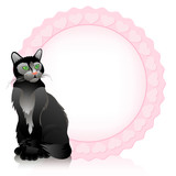 Funny cat. Vector background.