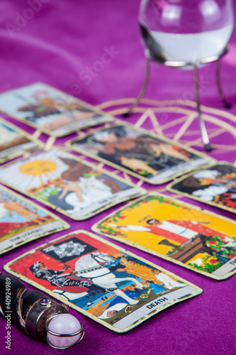 Tarot cards with the crystal ball and magic wand (4)