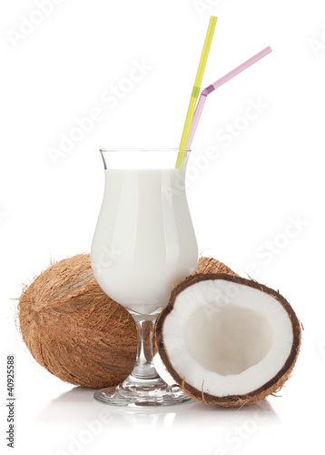 Coconut cream cocktail and coconuts