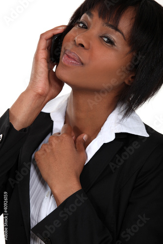 African American businesswoman making a call