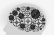 Head shape with machine gear wheel. Cogwheel.