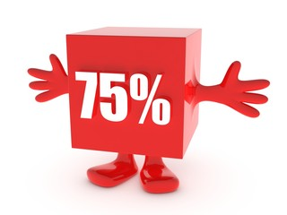 75 Percent off - discount happy figure