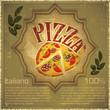 Pizza on grunge Background