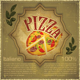 Fototapety Pizza on grunge Background