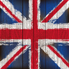 Union Jack on a Wooden Planks Background