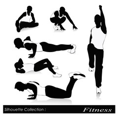 Vector illustration of fitness silhouettes .Men fitness