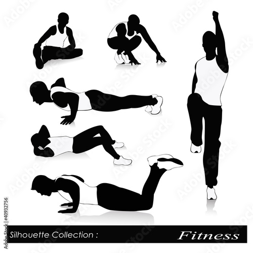 Vector illustration of fitness silhouettes .Men fitness