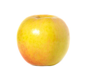 yellow with red apple on white