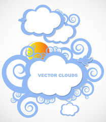 Abstract Stylized Cloud Blue Sky Vector