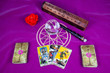 Tarots cards, magic ball, candle and magic wand (2).