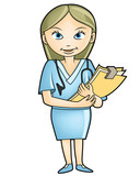 Nurse or Doctor holding a clip board