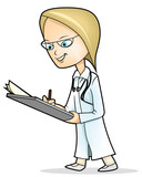 Cartoon female doctor with stethoscope and clip board