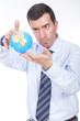 man holding a globe on his hand
